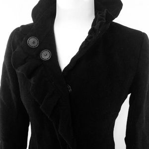 DKNY Womens Black Wool Peacoat Lined Jacket Sz 4